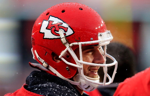 LANDOVER, MD - DECEMBER 08: Quarterback Alex Smith #11 of the Kansas City Chiefs smiles on the sidelines during the fourth quarter of the Cheifs 45-10 win over the Washington Redskins at FedExField on December 8, 2013 in Landover, Maryland.  (Photo by Rob Carr/Getty Images)