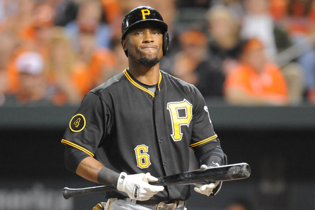 BALTIMORE, MD - MAY 1:  Starling Marte #6 of the Pittsburgh Pirates reacts after striking out in the third inning during a baseball game against the Pittsburgh Pirates in game two of a doubleheader on May 1, 2014 at Oriole Park at Camden Yards in Baltimore, Maryland.