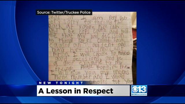 Truckee Police Officer Has 8-Year-Old Write Apology Letter
