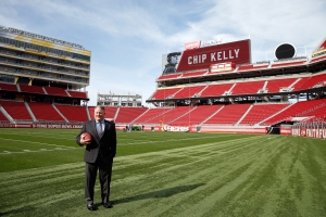 SANTA CLARA, CA - JANUARY 20: Chip Kelly stands on the field after a press conference where he was announced as the new head coach of the San Francisco 49ers at Levi's Stadium on January 20, 2016 in Santa Clara, California.
