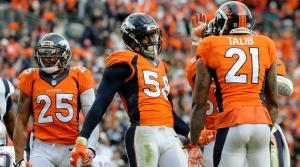 Von Miller #58 of the Denver Broncos reacts after a sack in the third quarter against the New England Patriots.