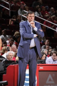 HOUSTON, TX - NOVEMBER 14: Head Coach Kevin McHale of the Houston Rockets looks on during the game against the Dallas Mavericks on November 14, 2015 at the Toyota Center in Houston, Texas. NOTE TO USER: User expressly acknowledges and agrees that, by downloading and or using this photograph, User is consenting to the terms and conditions of the Getty Images License Agreement. Mandatory Copyright Notice: Copyright 2015 NBAE (Photo by Bill Baptist/NBAE via Getty Images)