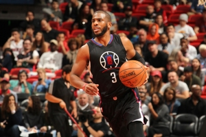 Chris Paul #3 of the Los Angeles Clippers handles the ball during the game against the Miami Heat on February 7, 2016 at AmericanAirlines Arena in Miami, Florida.