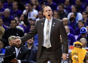 TORONTO, ON - APRIL 18: Head Coach Frank Vogel of the Indiana Pacers shouts to the referee in the second half of Game Two against the Toronto Raptors of the Eastern Conference Quarterfinals during the 2016 NBA Playoffs at the Air Canada Centre on April 18, 2016 in Toronto, Ontario, Canada. NOTE TO USER: User expressly acknowledges and agrees that, by downloading and or using this photograph, User is consenting to the terms and conditions of the Getty Images License Agreement. (Photo by Vaughn Ridley/Getty Images)