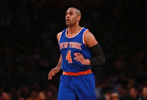 LOS ANGELES, CA - MARCH 13: Arron Afflalo #4 of the New York Knicks jogs upcourt during the NBA game against the Los Angeles Lakers at Staples Center on March 13, 2016 in Los Angeles, California. The Knicks defeated the Lakers 90-87. NOTE TO USER: User expressly acknowledges and agrees that, by downloading and or using this photograph, User is consenting to the terms and conditions of the Getty Images License Agreement.  (Photo by Victor Decolongon/Getty Images)