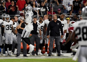 GLENDALE, AZ - AUGUST 12: Head coach Jack Del Rio of the Oakland Raiders watches play from the sidelines against the Arizona Cardinals at University of Phoenix Stadium on August 12, 2016 in Glendale, Arizona. (Photo by Norm Hall/Getty Images)