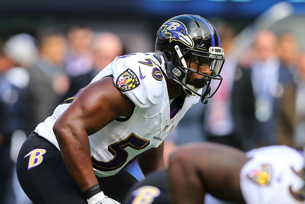 Baltimore Ravens outside linebacker Albert McClellan (50) during the game between the New York Giants and the Baltimore Ravens played at Met Life Stadium in East Rutherford, NJ.