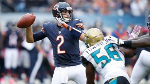 Brian Hoyer #2 of the Chicago Bears looks to pass against the Jacksonville Jaguars in the first half of the game at Soldier Field on October 16, 2016 in Chicago, Illinois.