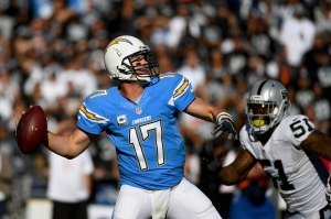 SAN DIEGO, CA - DECEMBER 18:  Quarterback Philip Rivers #17 of the San Diego Chargers throws the ball against the Oakland Raiders during the first half of  a game at Qualcomm Stadium on December 18, 2016 in San Diego, California. (Photo by Donald Miralle/Getty Images)