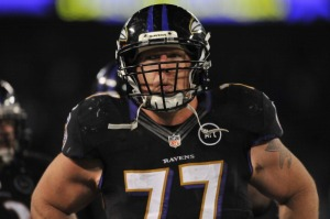 BALTIMORE - DECEMBER 23:  Matt Birk #77 of the Baltimore Ravens walks the sidelines during the game against the New York Giants at M&T Bank Stadium on December 23. 2012 in Baltimore, Maryland. The Ravens defeated the Giants 33-14. (Photo by Larry French/Getty Images)