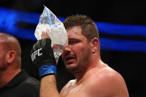 BOSTON, MA - JANUARY 17: Matt Mitrione applies ice to his eye after his heavyweight bout against Travis Browne (not pictured) during UFC Fight Night 81 at TD Banknorth Garden on January 17, 2016 in Boston, Massachusetts. (Photo by Maddie Meyer/Getty Images)