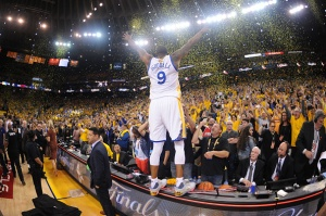 OAKLAND, CA - JUNE 12: Andre Iguodala #9 of the Golden State Warriors celebrates winning the NBA Championship in Game Five against the Cleveland Cavaliers of the 2017 NBA Finals on June 12, 2017 at Oracle Arena in Oakland, California. NOTE TO USER: User expressly acknowledges and agrees that, by downloading and or using this photograph, user is consenting to the terms and conditions of Getty Images License Agreement. Mandatory Copyright Notice: Copyright 2017 NBAE (Photo by: Noah Graham/NBAE via Getty Images)OAKLAND, CA - JUNE 12: after winning the NBA Championship in Game Five against the Cleveland Cavaliers of the 2017 NBA Finals on June 12, 2017 at Oracle Arena in Oakland, California. NOTE TO USER: User expressly acknowledges and agrees that, by downloading and or using this photograph, user is consenting to the terms and conditions of Getty Images License Agreement. Mandatory Copyright Notice: Copyright 2017 NBAE