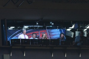 DENVER, CO - SEPTEMBER 11:  Rex Ryan (L) and Beth Mowins (C), the first woman in 30 years to call an NFL game on TV, in the ESPN broadcast booth during the game between the Denver Broncos and the Los Angeles Chargers at Sports Authority Field at Mile High on September 11, 2017 in Denver, Colorado.