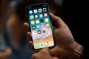 CUPERTINO, CA - SEPTEMBER 12:  The new iPhone X is displayed during an Apple special event at the Steve Jobs Theatre on the Apple Park campus on September 12, 2017 in Cupertino, California. Apple held their first special event at the new Apple Park campus where they announced the new iPhone 8, iPhone X and the Apple Watch Series 3.