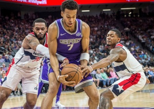 Sacramento Kings forward Skal Labissiere (7) fights for control of the ball against the Washington Wizards on Sunday, Oct. 29, 2017 at the Golden 1 Center in Sacramento, Calif.
