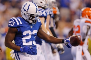 NDIANAPOLIS, IN - SEPTEMBER 24:  Frank Gore #23 of the Indianapolis Colts celebrates after scoring a touchdown against the Cleveland Browns at Lucas Oil Stadium on September 24, 2017 in Indianapolis, Indiana.