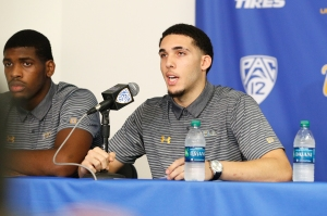 LOS ANGELES, CA - NOVEMBER 15: LiAngelo Ball and Cody Riley (L) of the UCLA Men's Baskeball team speak to the media during a press conference at Pauley Pavilion on November 15, 2017 in Los Angeles, California. Ball, Riley and Jalen Hill have been suspended from the team after allegedly shoplifting while on a school trip to China.