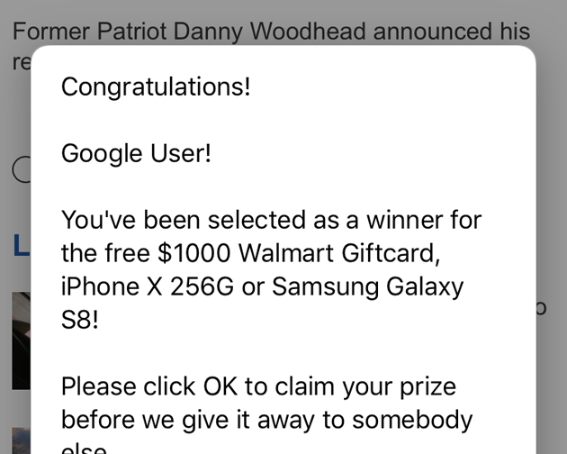 Congratulations, You Won' Pop Up Scam Infecting iPhones And