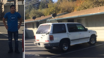 Miguel Gabriel-Ramirez and the SUV he was said to have been driving. (Credit: Vacaville Police Department)