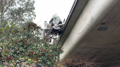The view from below the overpass where the truck crashed. (Credit: Metro Fire)