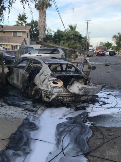 Police: Female Leaves Scene With Baby After Fiery Crash Into Del